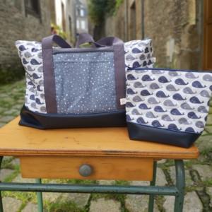 sac week-end à langer trousse de toilette création artisanalecréation artisanale made in Normandie tissus
