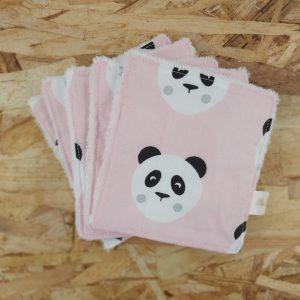 lingettes lavables démaquillantes zéro déchet création artisanale pandas