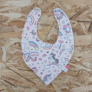 Bavoir bandana licornes , création artisanale dans la Baie du Mont St Michel